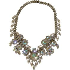 Vintage Big Luxury Clear Diamond Rhinestone Necklace