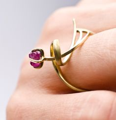 "Ring | Sarah Warsop. ""Lucio 1"".  18k gold and uncut ruby."