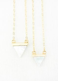 Gorgeous gold dipped triangle mother of pearl necklace. https://www.etsy.com/listing/225119445 www.kealohajewelry.com