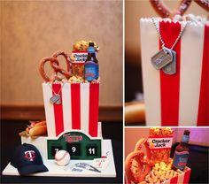 Baseball reception    , romantic wedding, black, silver, purple, grooms cake, baseball ...