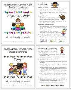 Kinder common core- Free download LA & Math CC standards written in parent friendly language. Also links to 1st & 2nd grade on this page.