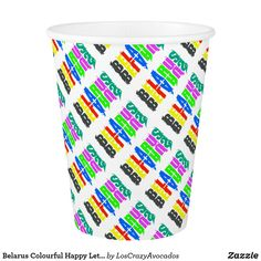 Belarus Colourful Happy Letters Paper Cup