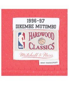 Mitchell   Ness Men s Dikembe Mutombo Atlanta Hawks Hardwood Classic  Swingman Jersey - Black Red S cffd03397