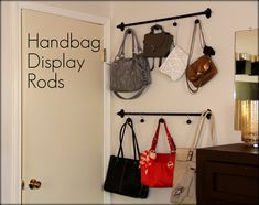 Curtain Rods and Shower Curtain hooks for purse storage and display
