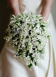 Bride's Exquisite Teardrop Wedding Bouquet Of White Hyacinth, White Lily Of The Valley + Green Foliage ~~
