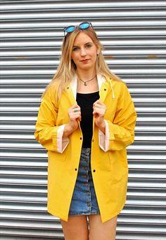 Womens Rain Mac Showerproof Raincoat Ladies Jacket Size 8 10 12 14 16 Yellow NEW Vinyl Raincoat, Pvc Raincoat, Hooded Raincoat, Yellow Coat, Yellow Raincoat, Raincoats For Women, Jackets For Women, Clothes For Women, Raincoat Jacket