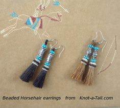 Horsehair earrings Southwest style beaded with turquoise colored beads Way too adorable beaded earrings trimmed with horse hair tassels Horse Hair Bracelet, Horse Hair Jewelry, Unique Earrings, Tassel Earrings, Beaded Earrings, Jewelry Knots, Jewelry Crafts, Western Earrings, Horse Accessories