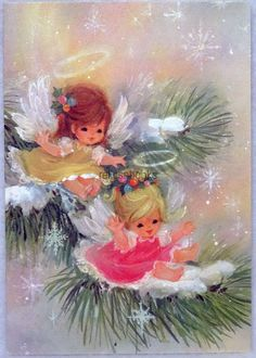 #888 60s Pretty Angel Girls on the Pine Bough, Vintage Christmas Card-Greeting