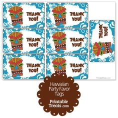 Blue Tiki Mask Party Favor Tags from PrintableTreats.com
