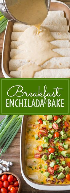 A super hearty, ultimate breakfast enchilada bake filled with eggs and cheese that can be served any time of the day.: