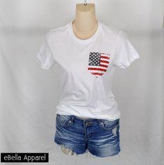 American Flag Fake Pocket - Women's White Short Sleeve, Graphic Print Tee - eBella Apparel, Inc. - 1