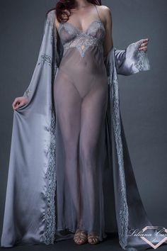 79b9de93f Contemporaine Silk Chiffon Long Nightdress by Liliana Casanova