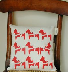 Scandinavian Nordic Christmas Dala Horse Screenprinted Cushion by Hem on Folksy Handmade Christmas Gifts, Christmas Gift Guide, Horse Gifts, Printed Cushions, Scandinavian Christmas, Pinterest Marketing, Softies, Natural Linen, Soft Furnishings