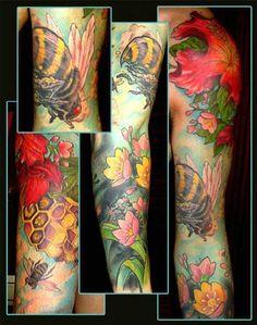 Honeybees & flowers (sleeve tattoo)