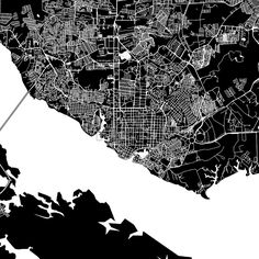 Manaus, Brazil, downtown vector map.  Art print pattern. White streets, railways and water on black. Bigger bridges with outlines. This map will show ... ... #download #vector #map #stockimage #black #urban #area