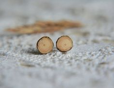Little wooden studs natural wood earring studs by MyPieceOfWood