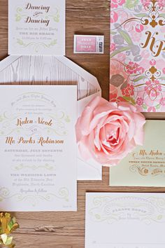 pink, metallic foil, wood grain calligraphy invitations oh my! | Harwell Photography #wedding