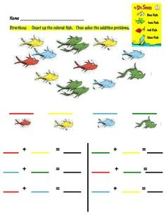 math worksheet : happy birthday dr seuss  dr seuss happy birthday and math : Dr Seuss Kindergarten Worksheets
