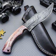 ALONZO KNIVES USA CUSTOM HANDMADE DAMASCUS TACTICAL BUSHCRAFT KNIFE CAMEL BON956 #AlonzoKnives