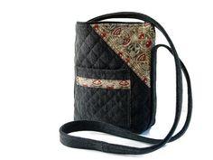 Quilted Black Denim Repurposed Crossbody Bag by SuzqDunaginDesigns, $50.00