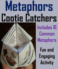 These metaphors cootie catchers are a great way for students to have fun while they practice interpreting metaphors. How to Play and Assembly Instructions are included.This product includes two cootie catchers (totaling 16 metaphors) which require students to interpret the meaning of a metaphor used within a sentence.