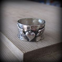 Winged Heart ring in .925 Sterling Silver. Made to order in your size!
