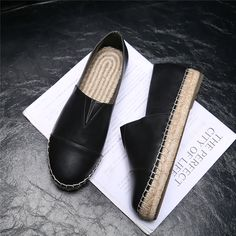 Luxury Brand Fisherman Espadrilles Shoes Women Flat Loafers Spring/Summer Cow Leather Moccasin Lady Ladies Causal Shoes Size 9