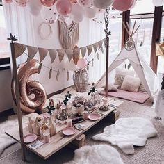 Loving this glamping inspired party setup 💗✨ Do you feel the coziness? Sleepover Birthday Parties, Girl Sleepover, Birthday Party Decorations, Slumber Party Ideas, Picnic Birthday, Baptism Decorations, Ideas Party, Table Decorations, Soirée Pyjama Party