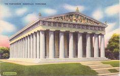 Nashville Tennesee The Parthenon  Linen by postcardsofthepast