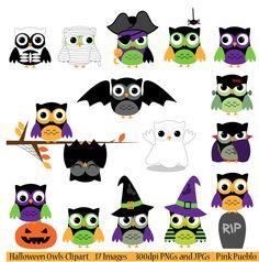 Print Candee - Halloween Owls Clipart, $6.00 (http://www.printcandee.com/halloween-owls-by-pink-pueblo/)