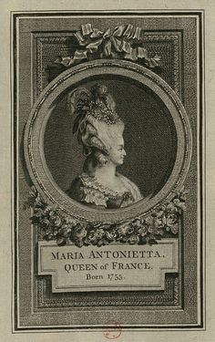 Engraved portrait of Marie Antoinette as Queen of France