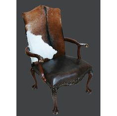 Chippendale Western Club Chair Leather Fur Mahogany Free Ship New