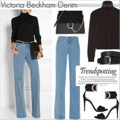 Victoria Beckham Denim by helenevlacho on Polyvore featuring Equipment, dVb Victoria Beckham, Gucci, Chloé, Isabel Marant, Melissa, denim, victoriabeckham and netaporter