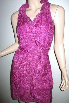 NWT ANN TAYLOR LOFT Cotton Silk Gauze Animal Print Wrap Ruffle Purple Dress 4