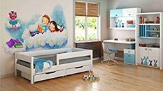 Children's Beds Home Single Beds For Kids Children Toddler Junior No Drawers No Mattress Included White) Toddler Bunk Beds, Kid Beds, Kids Twin Bed Frame, Kids Single Beds, Bunk Beds With Storage, Junior Bed, White Drawers, Wooden Drawers, Lit Simple