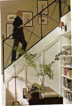 metal X staircase railing design.