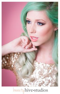 mint green hair & sequins