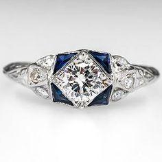 VINTAGE ENGAGEMENT RING 1/2 CARAT DIAMOND PLATINUM