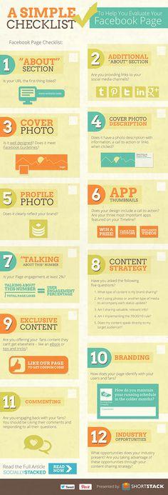 Facebook checklist www.socialmediamamma.com Top Facebook tips for 2013 Facebook marketing Business Infographic