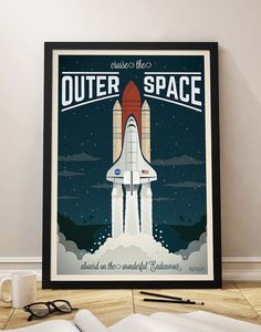 Vintage Travel Poster, Spaceship, Space Shuttle, Universe, Travel, Decoration, Wall Art, Printable Poster, Old, Spaceship, Frame