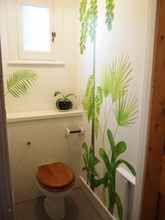 mural of tropical victorian glasshouse plants in the toilet! By Sally Hancox, based in London, UK Victorian Greenhouses, Shed Doors, Kew Gardens, Glass House, Sally, Wall Murals, Stencil, Toilet, Environment