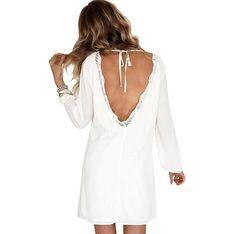 vovotrade Mujeres Estilo boho Vestido de gasa Playa Casual Lace Backless Vestidos (US Size 6)