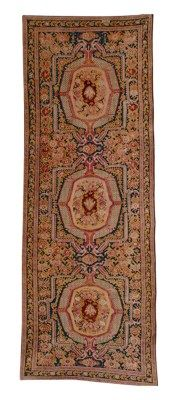 KARABAGH GALLERY CARPET  SOUTH CAUCASUS, DATED AH 1299/1882 AD  With an indecipherable inscription cartouche  Approximately 18 ft. 4 in. x 6 ft. 8 in. (559 cm. x 203 cm.)