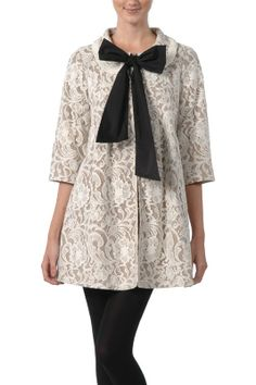 Letters from Paris Lace 3/4 sleeve Bow Center Coat in Ivory By Ryu Collection  $139.99