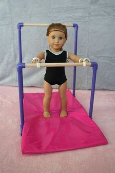 American Girl Dolls : Image : Description Arts and Crafts for your American Girl Doll: Uneven Bars for American Girl doll American Girl Outfits, Ropa American Girl, My American Girl Doll, American Girl Doll Gymnastics, American Girl Storage, American Clothing, Ag Doll Crafts, Diy Doll, Diy Crafts