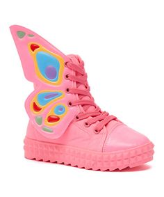 COCO Jumbo Pink Butterfly Hi-Top Sneaker | zulily
