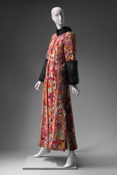 Embroidered wool coat with mink trim by Thea Porter, ca. 1969.
