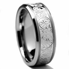 @Overstock - Men?s Engraved Florentine ringTungsten jewelryClick here for ring sizing guidehttp://www.overstock.com/Jewelry-Watches/Mens-Tungsten-Carbide-and-Stainless-Steel-Inlay-Ring-with-Engraved-Florentine-Design-8-mm/6364667/product.html?CID=214117 $67.99