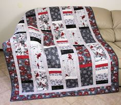 Quilted Christmas Throw, Cardinals and Poinsettias Lap Quilt, Red, Silver and Gray Winter Quilt, Twin Bed Topper, Quiltsy Handmade Patchwork by QuiltSewPieceful on Etsy
