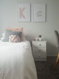 Pre-teen girls bedroom makeover using blush pink white and grey.